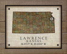 Load image into Gallery viewer, Lawrence Kansas Vintage Design - On 100% Natural Linen