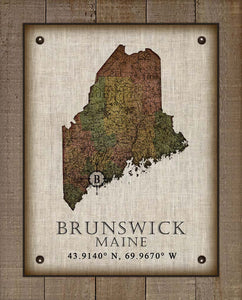 Brunswick Maine Vintage Design On 100% Natural Linen