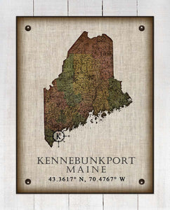 Kennebunkport Maine Vintage Design On 100% Natural Linen