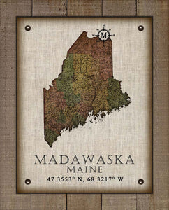 Madawaska Maine Vintage Design On 100% Natural Linen