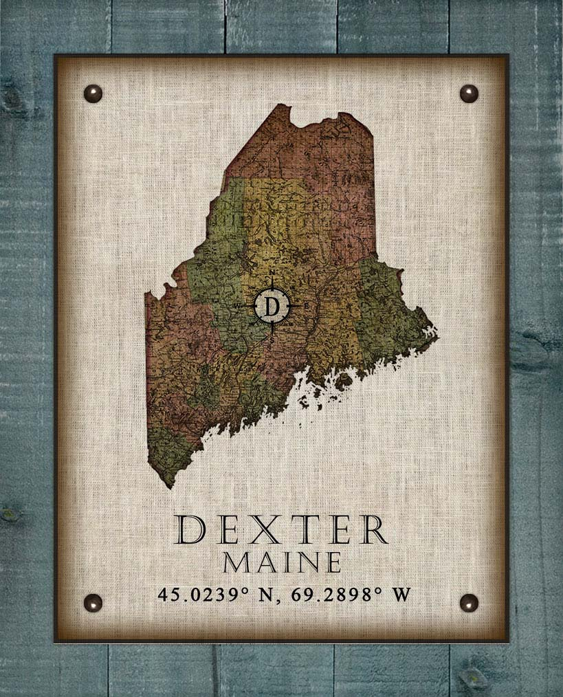 Dexter Maine Vintage Design On 100% Natural Linen