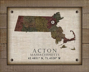 Acton Massachusetts Vintage Design On 100% Natural Linen