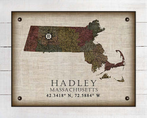 Hadley Massachusetts Vintage Design - On 100% Natural Linen