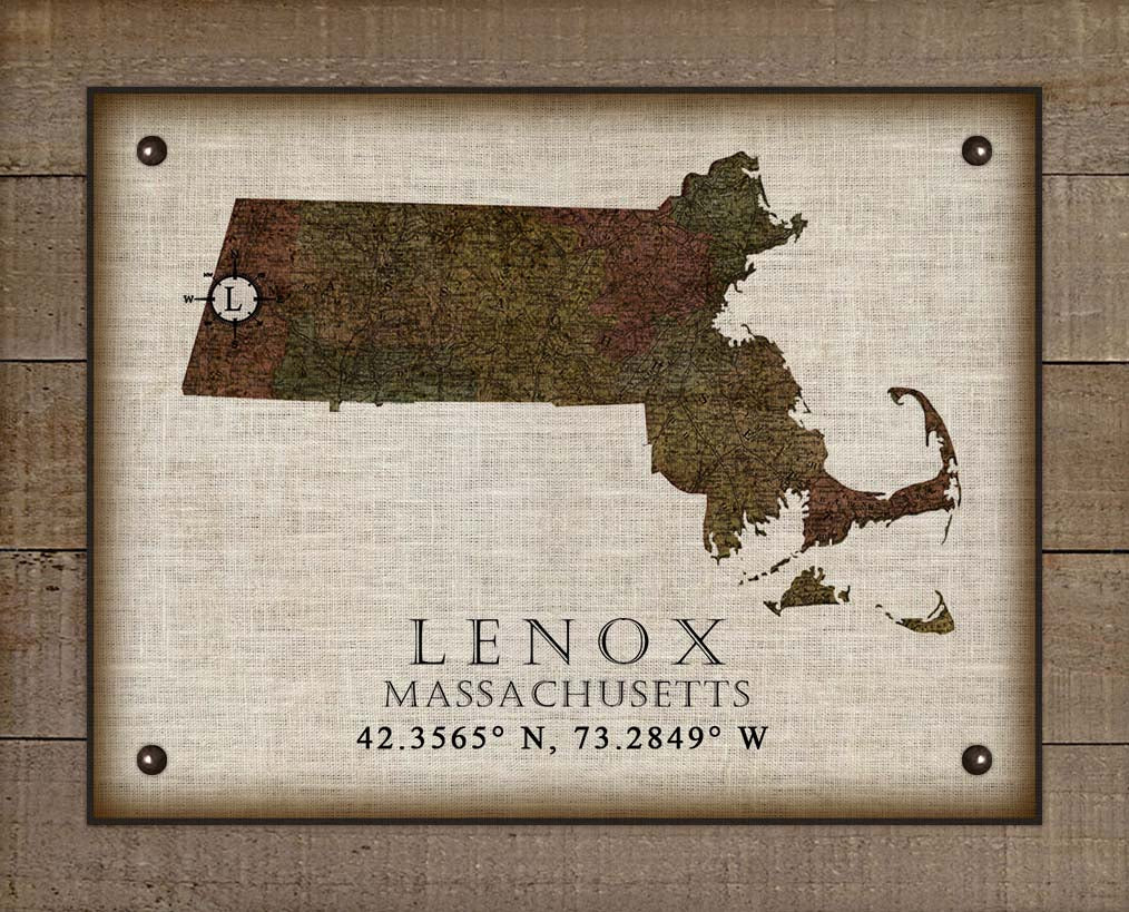 Lenox Massachusetts Vintage Design - On 100% Natural Linen