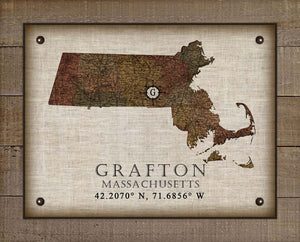 Grafton Massachusetts Vintage Design On 100% Natural Linen