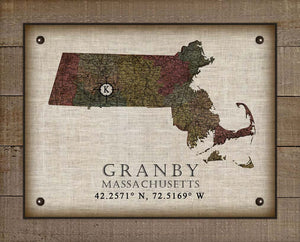 Granby Massachusetts Vintage Design On 100% Natural Linen