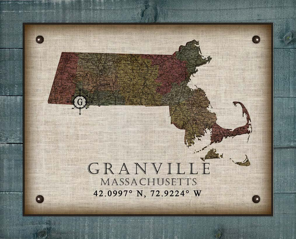 Granville Massachusetts Vintage Design On 100% Natural Linen