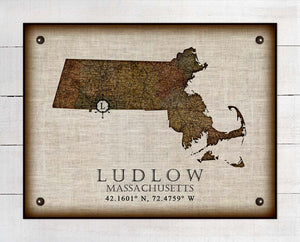 Ludlow Massachusetts Vintage Design - On 100% Natural Linen