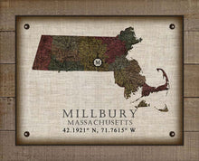 Load image into Gallery viewer, Millbury Massachusetts Vintage Design - On 100% Natural Linen