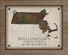Load image into Gallery viewer, Williamstown Massachusetts Vintage Design - On 100% Natural Linen