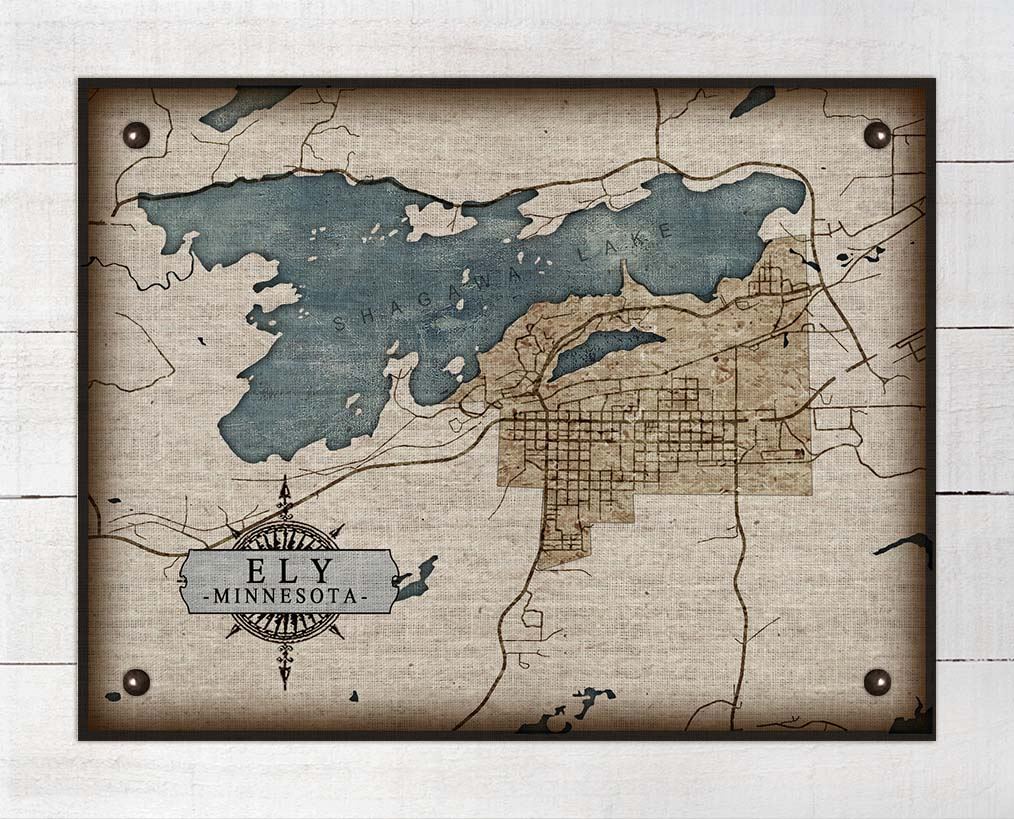 Ely Minnesota Map - On 100% Natural Linen