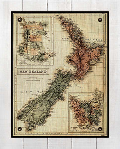 1865 New Zealand Map - On 100% Natural Linen