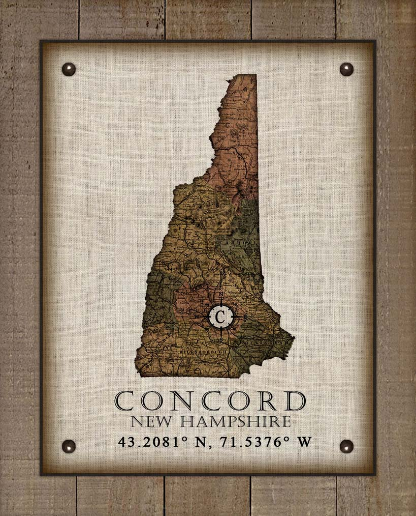 Exeter New Hampshire Vintage Design - On 100% Natural Linen
