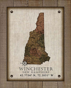 Winchester New Hampshire Vintage Design - On 100% Natural Linen