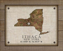 Load image into Gallery viewer, Ithaca New York Vintage Design - On 100% Natural Linen