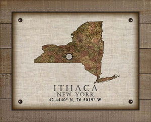 Ithaca New York Vintage Design - On 100% Natural Linen