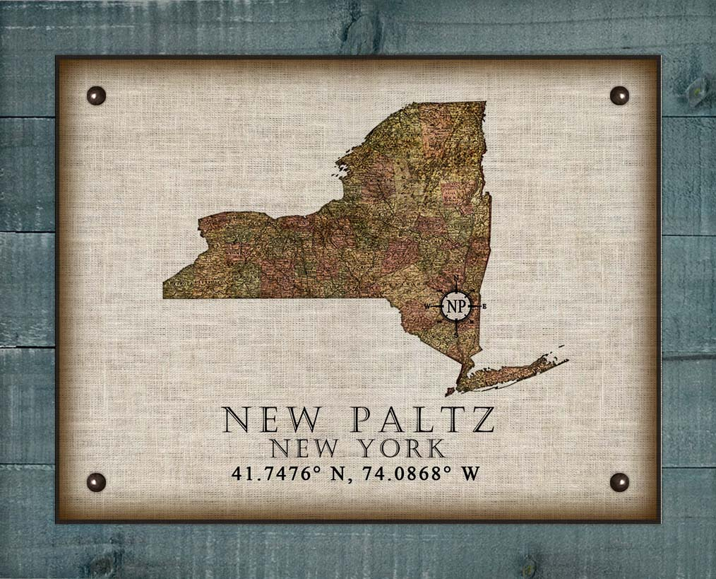 New Paltz New York Vintage Design - On 100% Natural Linen