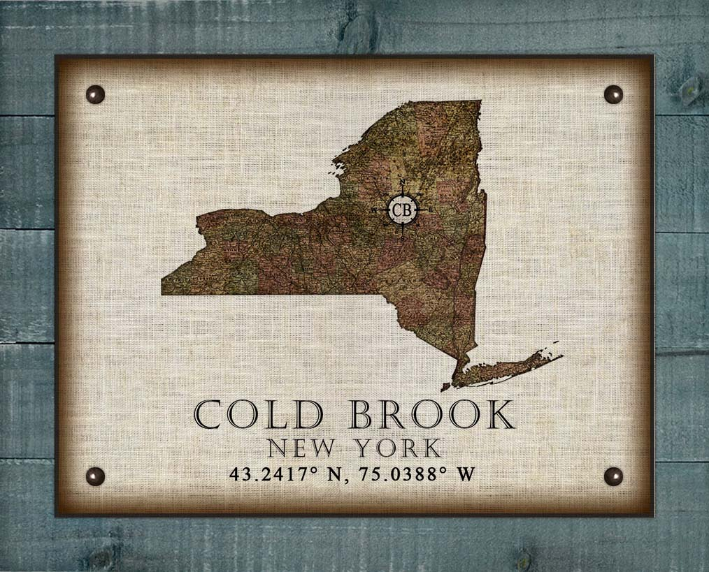Cold Brook New York Vintage Design - On 100% Natural Linen