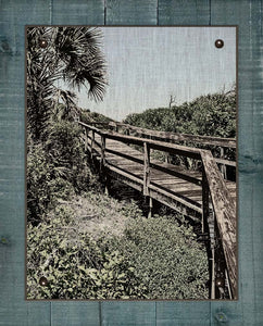 Beach Boardwalk 2  - On 100% Natural Linen