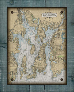 Narragansett Bay Rhode Island Nautical Chart - On 100% Natural Linen