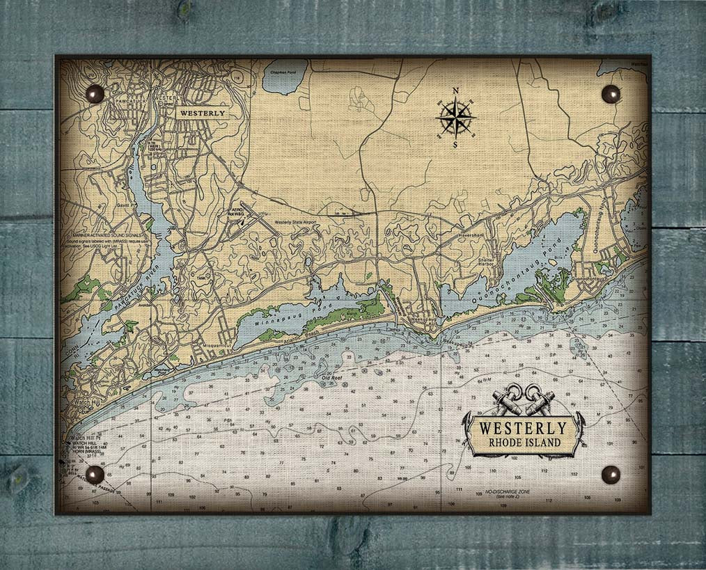 Westerly Rhode Island Nautical Chart - On 100% Natural Linen
