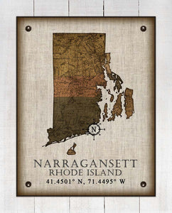 Narragansett Rhode Island Vintage Design - On 100% Natural Linen