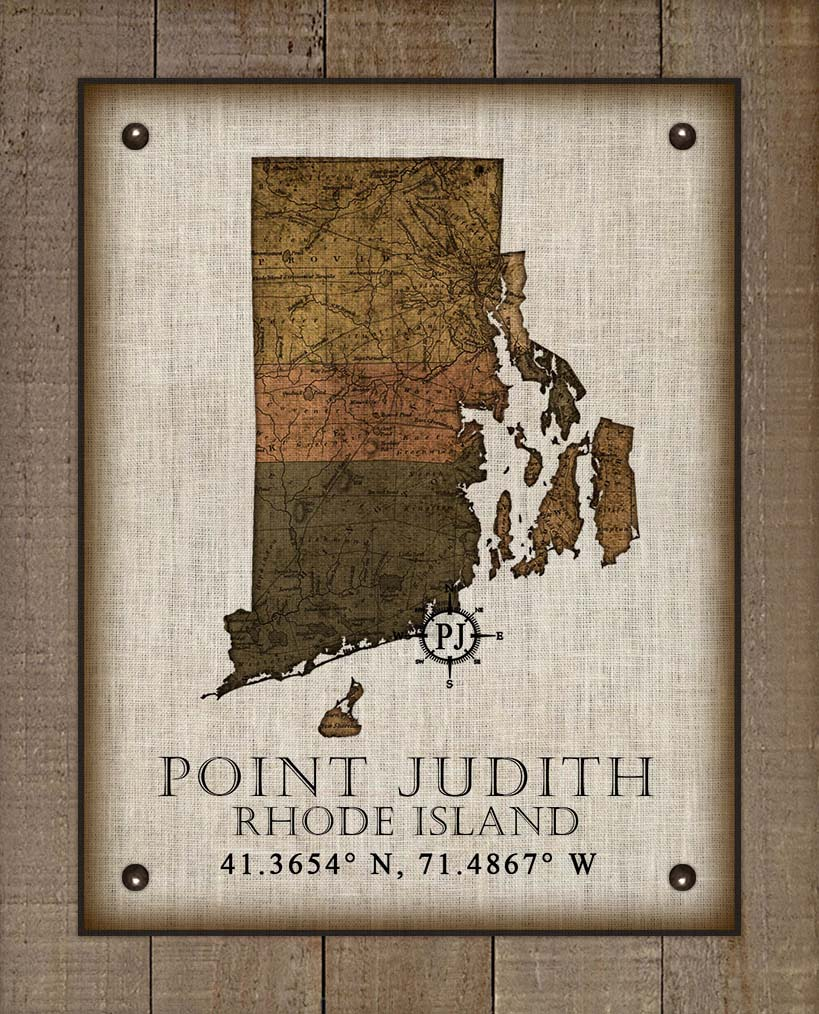 Point Judith Rhode Island Vintage Design - On 100% Natural Linen