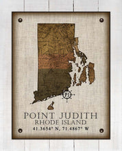 Load image into Gallery viewer, Point Judith Rhode Island Vintage Design - On 100% Natural Linen