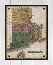 Load image into Gallery viewer, 1800s Rhode Island Map - On 100% Natural Linen