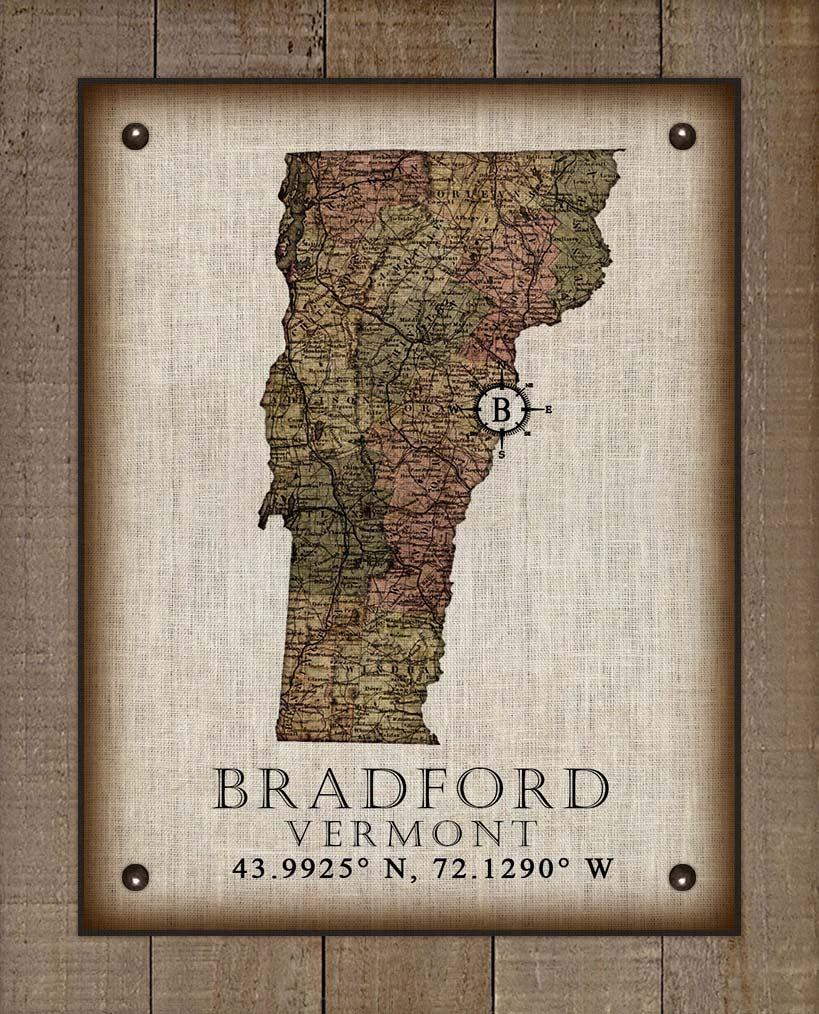 Bradford Vermont Vintage Design - On 100% Natural Linen