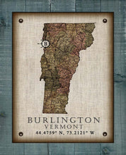 Load image into Gallery viewer, Burlington Vermont Vintage Design - On 100% Natural Linen