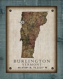 Burlington Vermont Vintage Design - On 100% Natural Linen