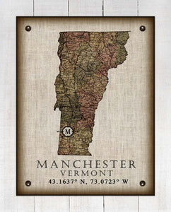 Manchester Vermont Vintage Design - On 100% Natural Linen