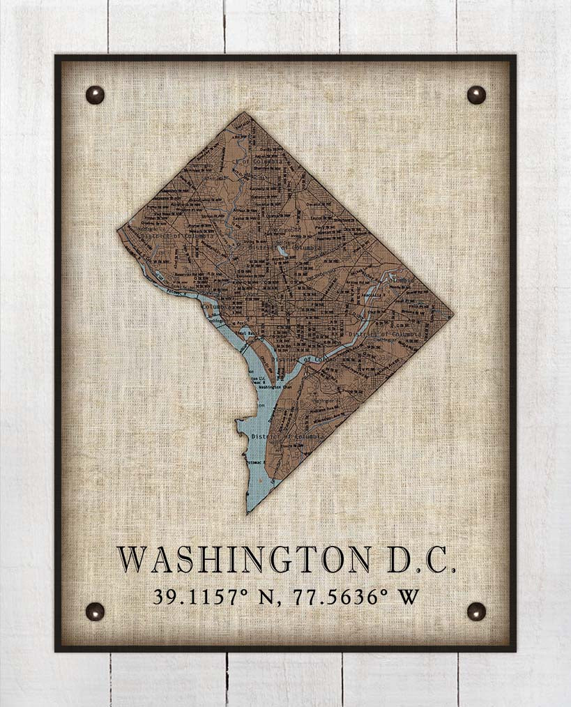 Washington DC Vintage Design - On 100% Natural Linen