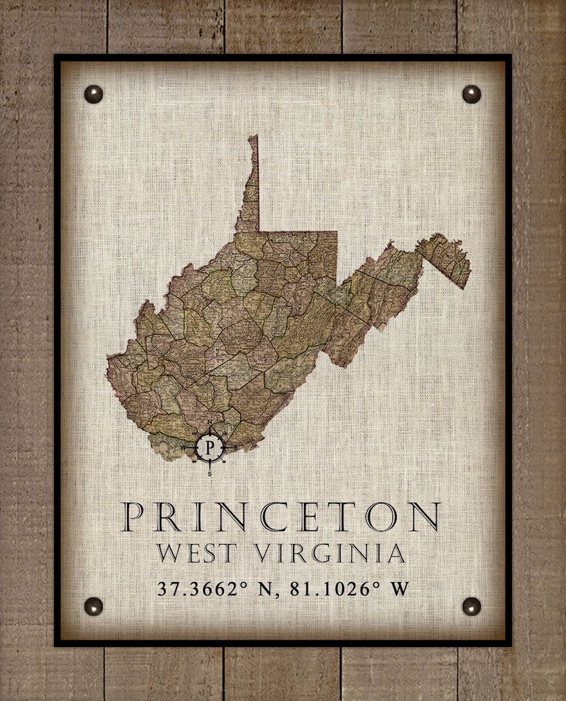 Princeton West Virginia Vintage Design - On 100% Natural Linen