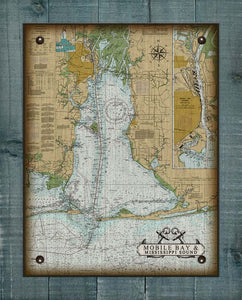 Mobile Bay Nautical Chart - On 100% Natural Linen