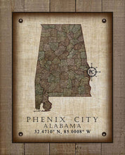 Load image into Gallery viewer, Phenix City Alabama Vintage Design - On 100% Natural Linen