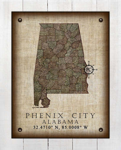 Phenix City Alabama Vintage Design - On 100% Natural Linen