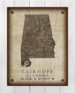 Fairhope Alabama Vintage Design - On 100% Natural Linen