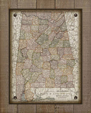Load image into Gallery viewer, 1800s Vintage Alabama Map - On 100% Natural Linen