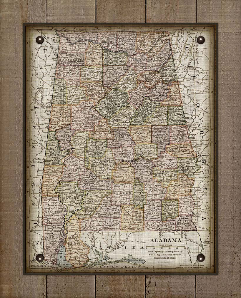 1800s Vintage Alabama Map - On 100% Natural Linen