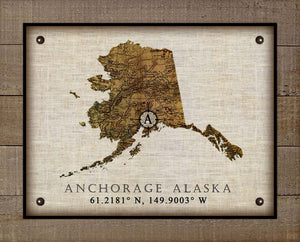 Anchorage Alaska Vintage Design - On 100% Natural Linen