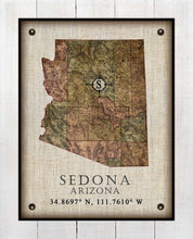 Load image into Gallery viewer, Sedona Arizona Vintage Design - On 100% Natural Linen