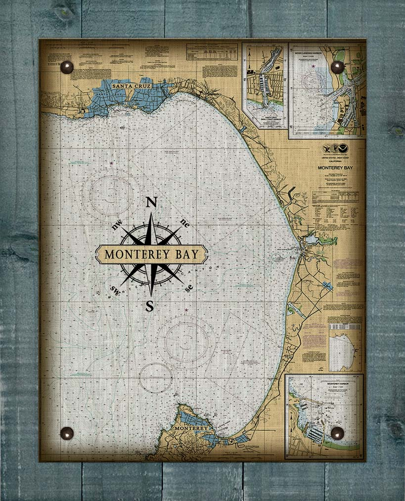 Monterey Bay Nautical Chart - On 100% Natural Linen