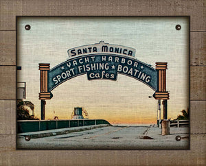 Santa Monica Pier Sign - On 100% Natural Linen