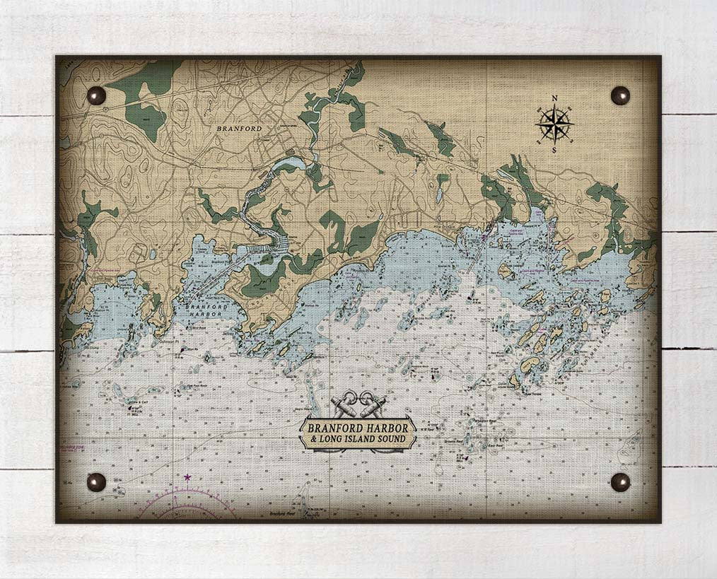 Branford CT. Nautical Chart - On 100% Natural Linen