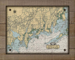 Darrien CT Nautical Chart On 100% Natural Linen