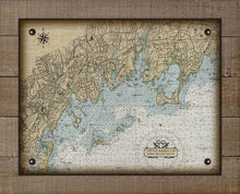 Load image into Gallery viewer, Greenwhich CT Nautical Chart On 100% Natural Linen