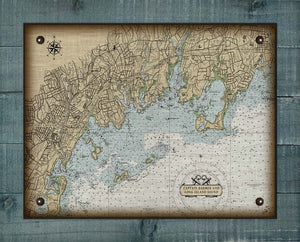 Groton CT Nautical Chart On 100% Natural Linen