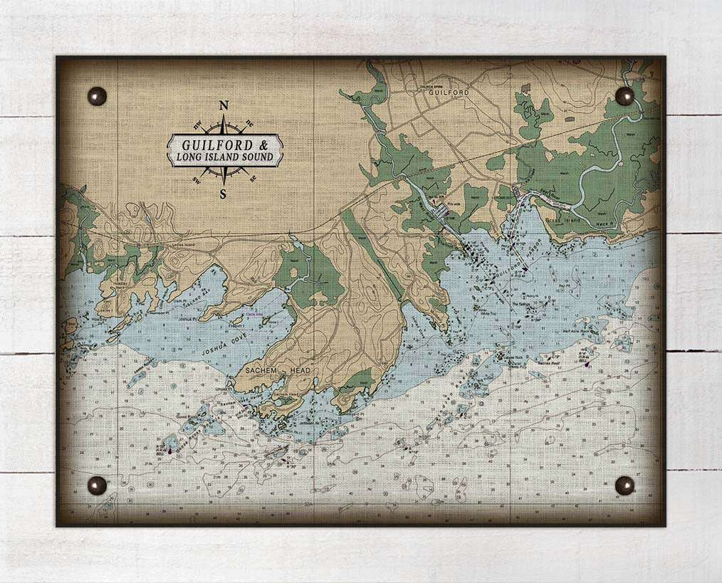 Guilford CT Nautical Chart On 100% Natural Linen